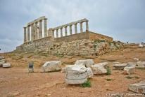 Cap Sounion – le Temple de Poséidon surplombant la Mer Egée