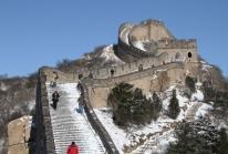 La Grande Muraille de Chine sous la neige au nord de Pékin